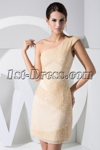 Luxury Beaded Champagne One Shoulder Short Celebrity Club Dresses WD1-027