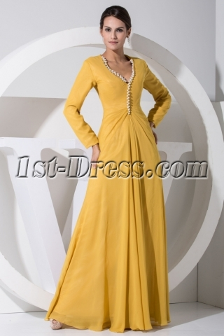 Modest Daffodil Chiffon Mother of Bride Dress with Long Sleeves WD1-046