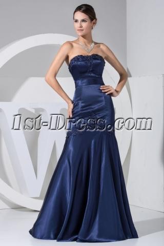 Navy Strapless Floor Length Mermaid Graduation Dress WD1-047