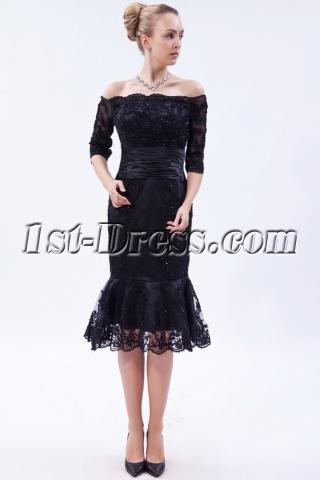 Off Shoulder Black Tea Length Lace Wedding Dress with Sleeves IMG_9767