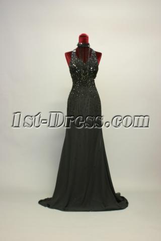Open Back Beaded Black Evening Dresses Long IMG_7117