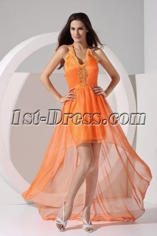 Orange Halter Sweet High Low Prom Dresses under 200 Dollars WD1-054