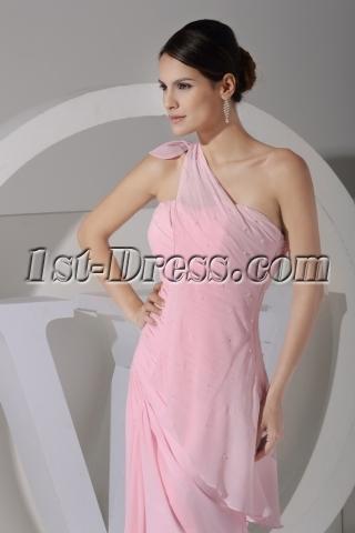Pink Romantic 2013 Prom Dress One Shoulder Chiffon Floor Length WD1-059