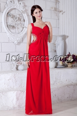 Red Chiffon Celebrity Dresses Cheap 2013 IMG_7796