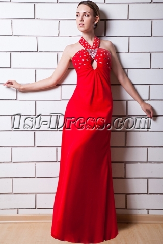 Red Criss-cross Back Maternity Evening Gown IMG_0600