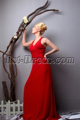 Red Halter Simple Chiffon Plus Size Prom Gown SOV111015