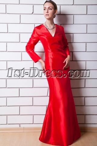 Red Long Sleeves V-neckline Mother of Bride Dress IMG_0649