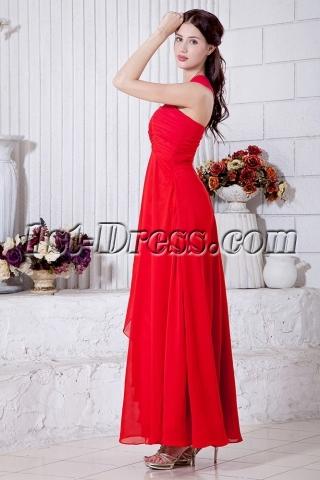 Red One Shoulder Ankle Length Graduation Dress IMG_6877