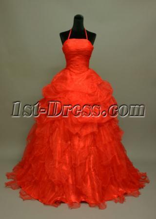 Red Organza Elegant Ball Gown Wedding Dress img_6960