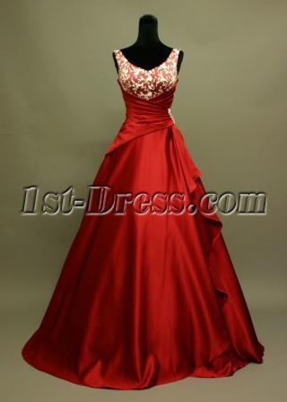 Red V-neck Simple Beach Wedding Dress IMG_6922