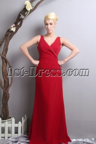 Red V-neckline Mother of the Bride Dress for Outdoor Wedding SOV111016