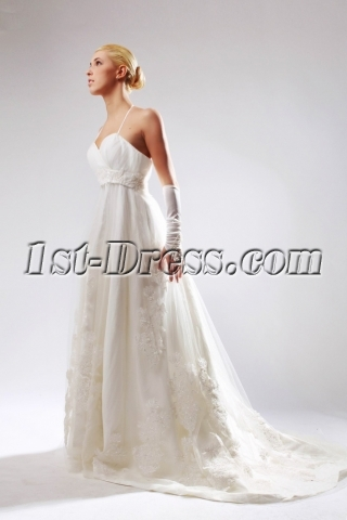 Romantic Halter Maternity Bridal Gown for Large Size SOV110015