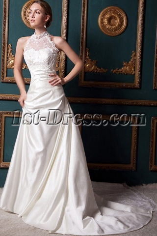 Romantic Modest Illusion High Collar Lace Wedding Dress IMG_1541