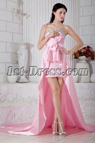 Romantic Pink Sweet 16 High-low Prom Dress IMG_6826