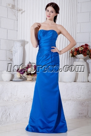 Royal Blue Long Column Bridesmaid Dress Cheap IMG_7156