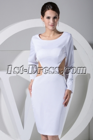 Scoop Long Sleeves Tea Length Sexy Backless Prom Dress WD1-017