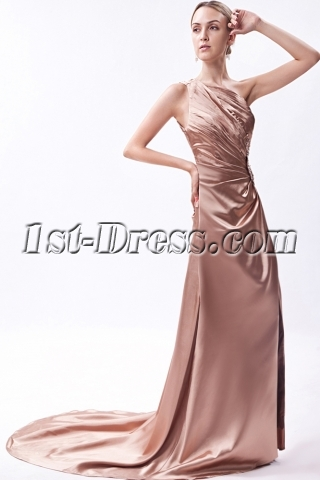 Sexy Gold Backless Evening Dress with Train IMG_1189