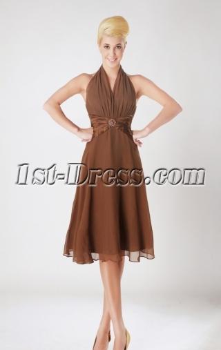 Short Halter Chiffon Brown Junior Brown Dresses SOV112008