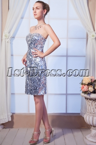 Silver Sequins Tea Length Column Prom Dress 2013 IMG_0185