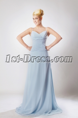 Sky Blue Spaghetti Straps Generous Graduation Dress SOV111002