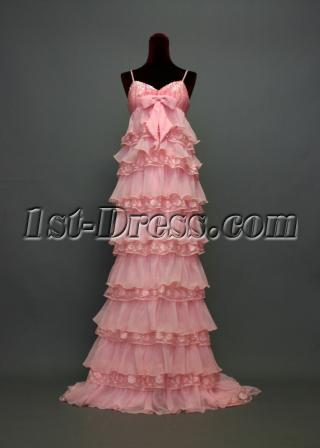 Spaghetti Long Pink Empire Maternity Evening Gown IMG_7244
