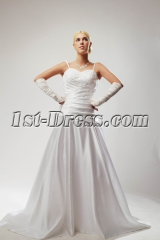 Spaghetti Straps Satin Budget Bridal Gowns with V-Back SOV110029