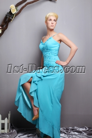 Spaghetti Straps Teal High Low Evening Dresses Casual SOV111027