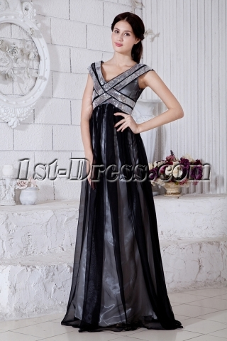 Special Black V-neckline Silver Pregnacy Prom Dress with Silver Sequins IMG_7611