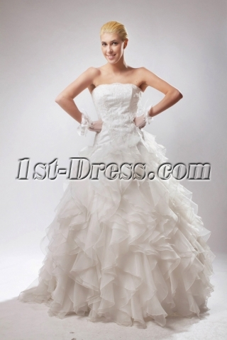 Strapless Ball Gown Wedding Dresses 2013 with Ruffle SOV110019