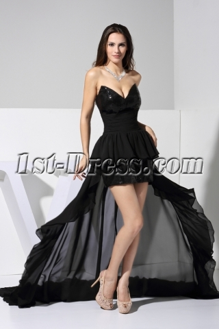 Strapless Black High-low Sequin Mini Dress with Train WD1-056