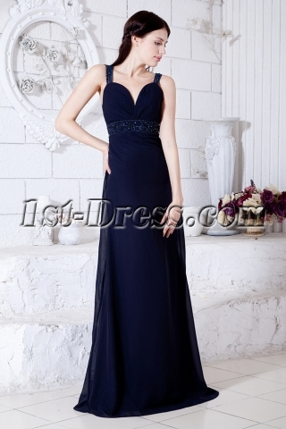 Straps Navy Blue Sexy Military Evening Party Dress with Keyhole IMG_7563