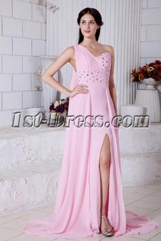 Summer Nectarean Pink Chiffon One Shoulder Graduation Dresses Criss Back with Sash IMG_7746