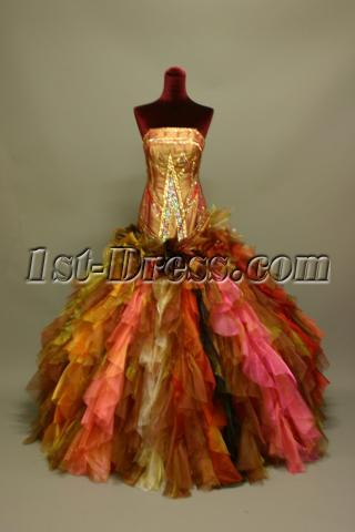 Super Gorgeous Multi Colored Puffy Colorful Quinceanera Dresses IMG_6903