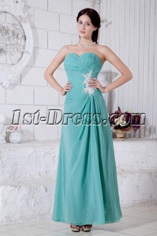 Teal Chiffon Beach Ankle Length Bridesmaid Dress with Sweetheart IMG-7762