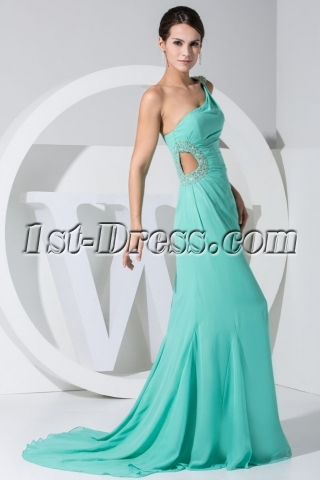 Teal Floor Length One Shoulder Sexy Prom Dress with Keyhole WED1-037
