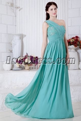 Teal Pregnant One Shoulder Evening Party Dress IMG_7235