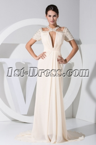 Unique Short Sleeves Light Champagne Celebrity Dress WE1-035