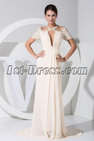 Unique Short Sleeves Light Champagne Celebrity Dress WE1-035