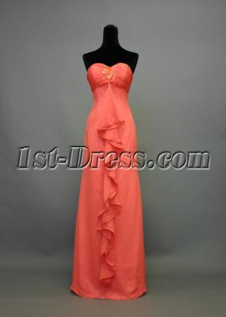 Water Melon Long Beach Bridesmaid Dress IMG_7456