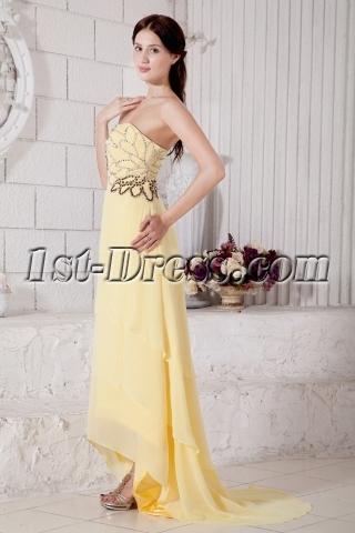 Wonderful Chiffon Yellow High-low Prom Dress with Train IMG_7697