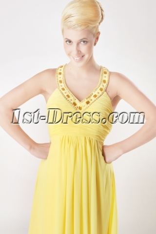 Yellow Jeweled Plus Size V-neckline Evening Dress with T Back SOV111005