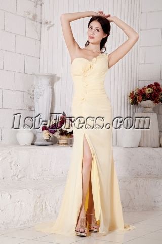 Yellow One Shoulder with Cross Back Sexy Prom Dress with Train IMG_7504