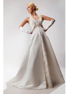Ivory Satin Tradition Haler Plus Size Wedding Gown SOV110023