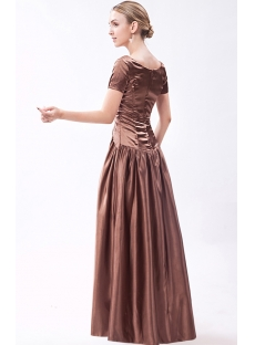 2012 Brown Vintage Bridesmaid Dress with Short Sleeves IMG_1210