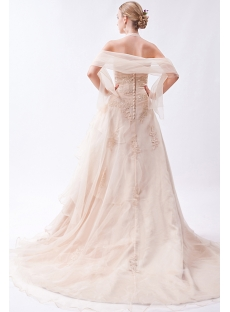 2013 Champagne Nectarean Bridal Gown with Shawl IMG_0914