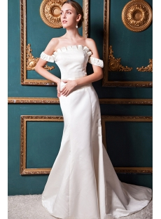 2013 Ivory Off Shoulder Simple Wedding Gown IMG_1470