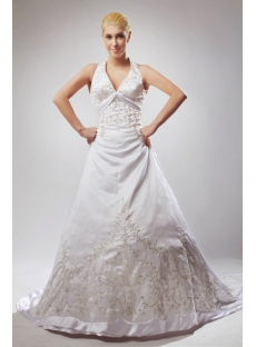 2013 Tradition Halter Embroidery Vintage Bridal Gowns with Chapel Train SOV110017