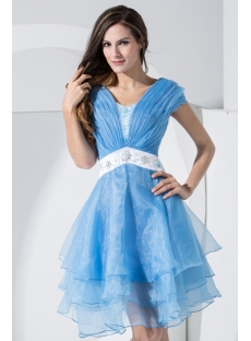 Aqua and White Homecoming Dress with Short Sleeves IMG_w003