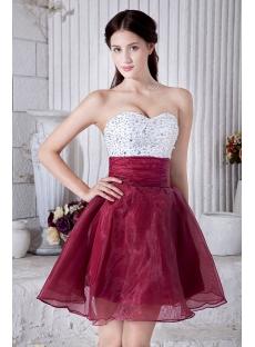 Beaded Cute White and Burgundy Sweet 15 Dress IMG_6949