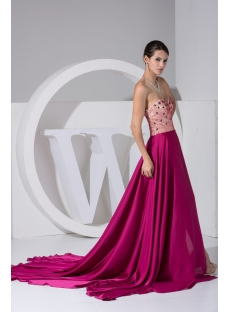 Beaded Fuchsia Special Military Prom Dress WD1-052